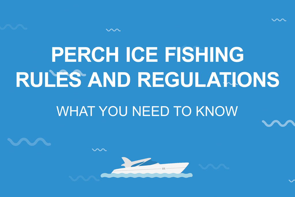 """An infographic stating """"Perch Ice Fishing Rules and Regulations – What You Need to Know"""" in white against a blue background"""