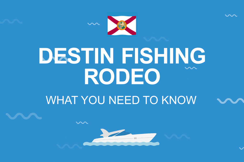 """An infographic with white text on a blue background reading """"Destin fishing rodeo: what you need to know"""""""