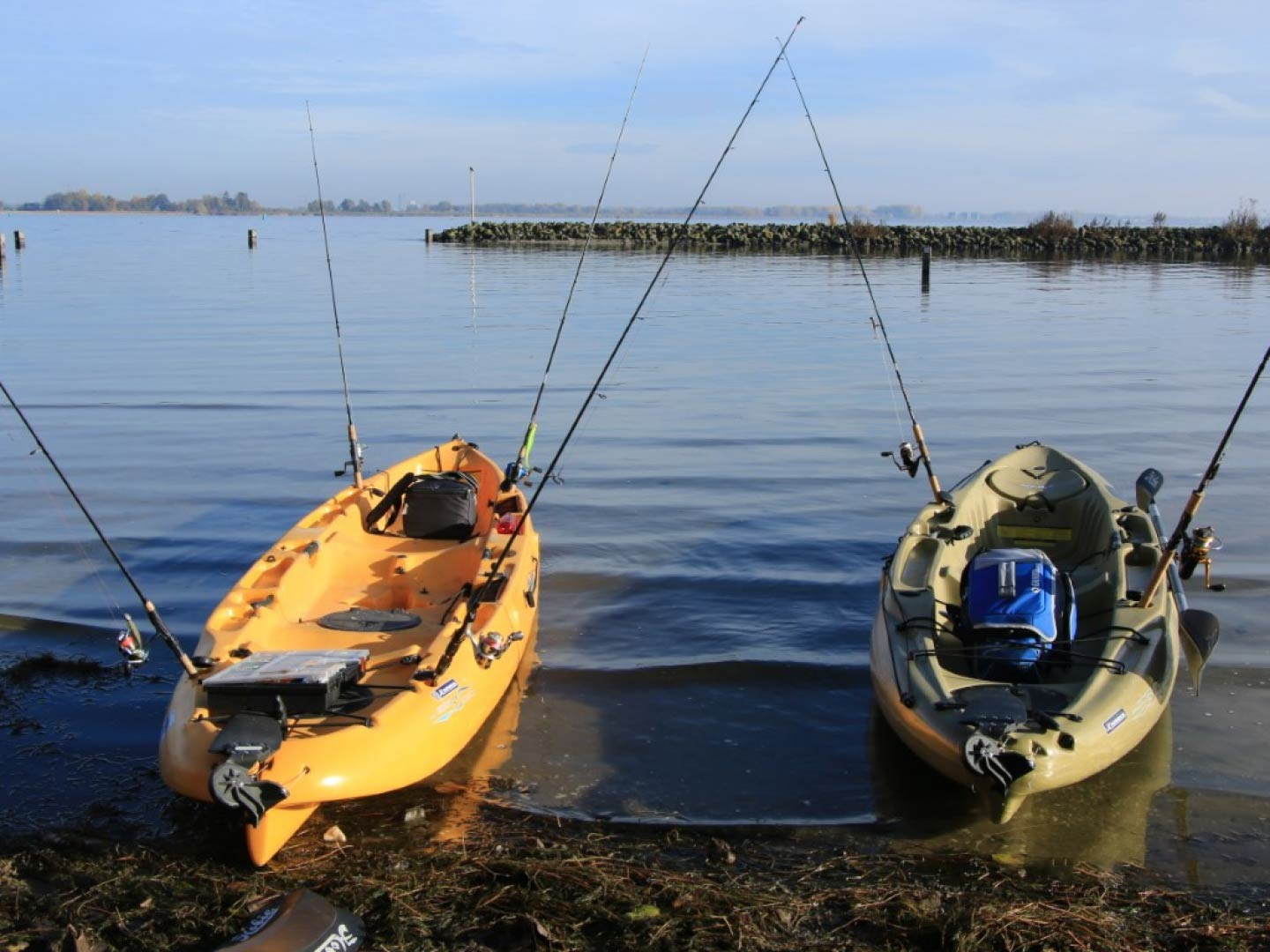 Two fishing kayaks on the waters of the Netherlands