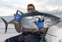 An angler on a boat holding a giant Bluefin Tuna with a spinning rod next to him