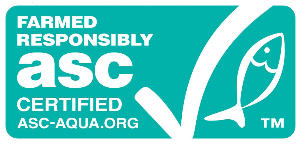 The logo of the ASC, or Aquaculture Stewardship Council, an organization promoting sustainable fish.