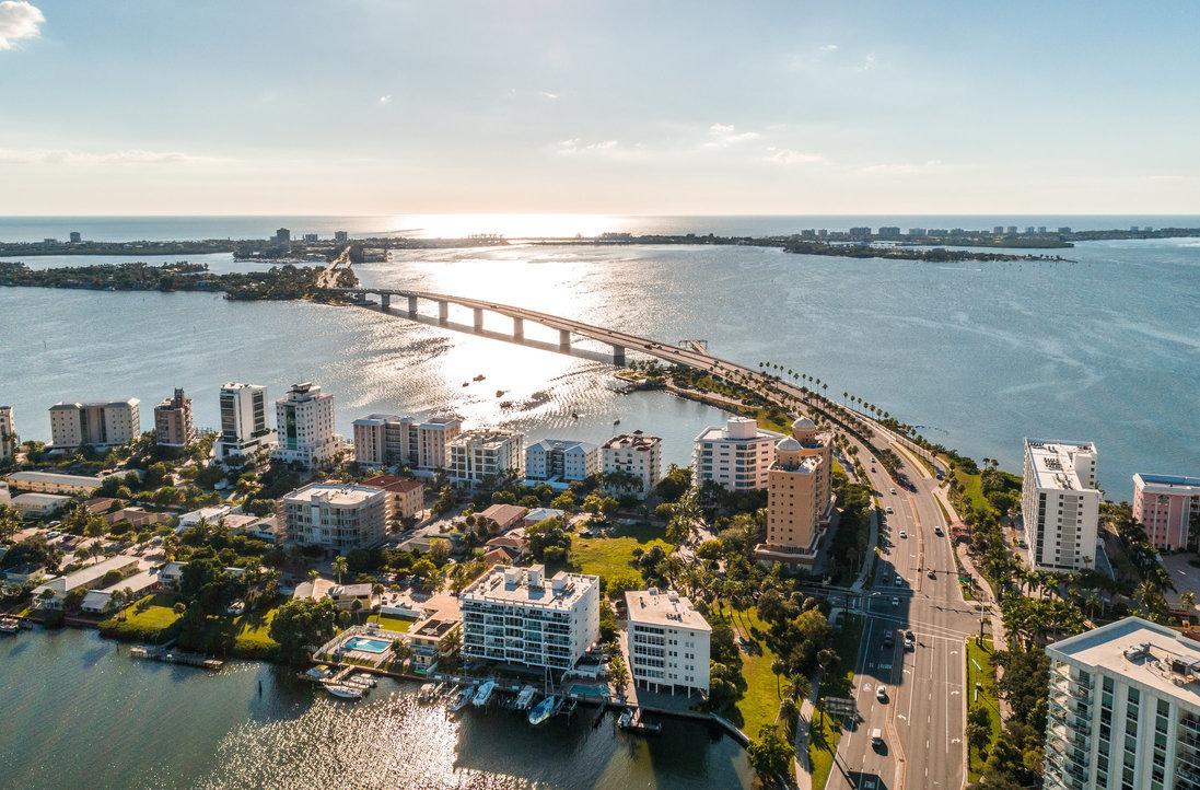 An aerial view of Sarasota