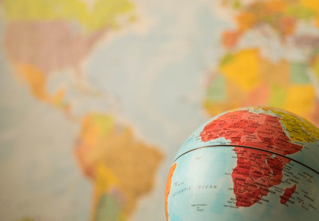 Africa map on the globe