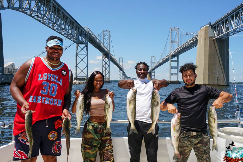 A group of anglers hold their Chesapeake Bay Rockfish under the Chesapeake Bay Bridge