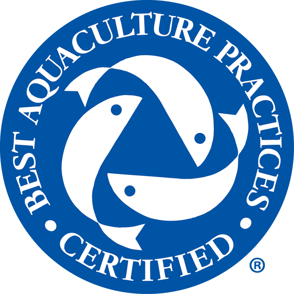 The logo of the BAP, or Best Aquaculture Practices, the accrediting arm of the Global Aquaculture Alliance.