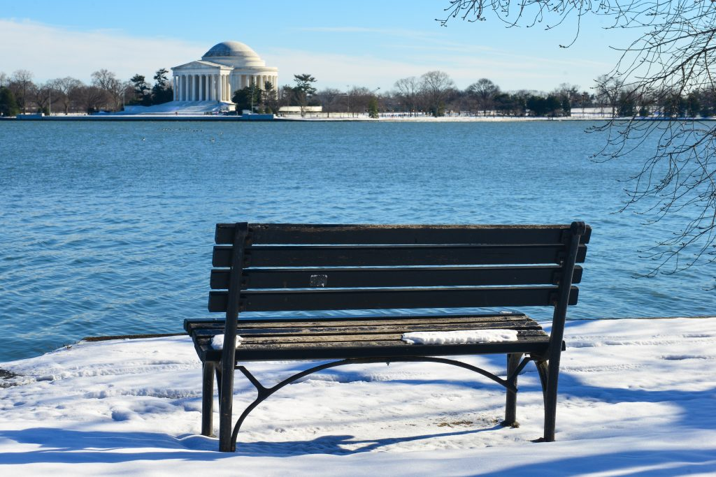 snowy bench in DC