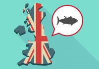 A cartoon map of the United Kingdom coloured with the British flag. On the right, a speech bubble with a picture of a fish.
