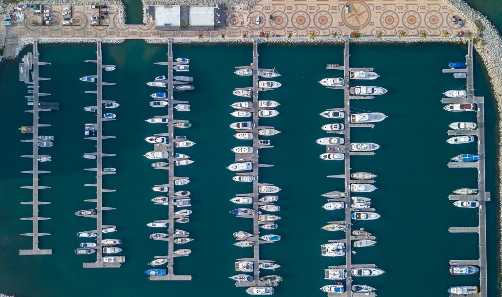 Boats at the dock in a large marina
