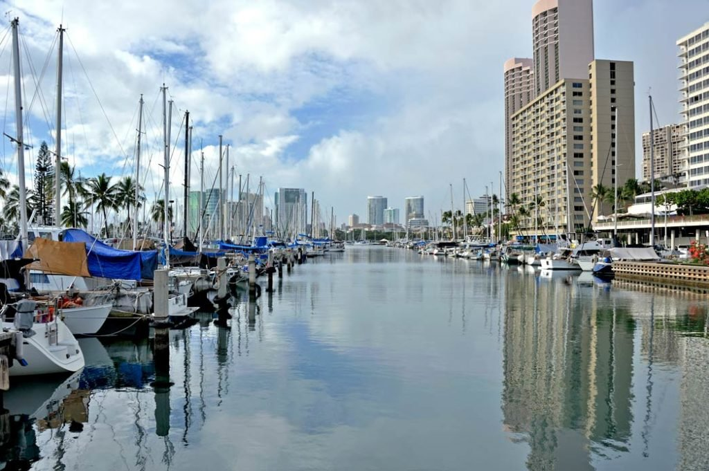 Charters and sailboats docked in Honolulu, Hawaii