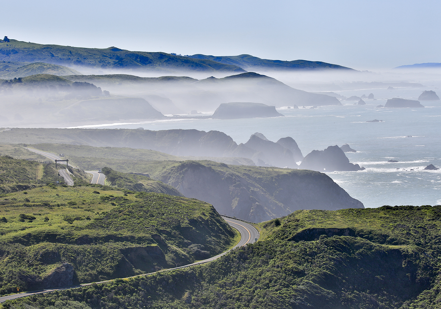 A view along the cliffs in Bodega Bay, CA, with sea on the right and a road in the foreground.