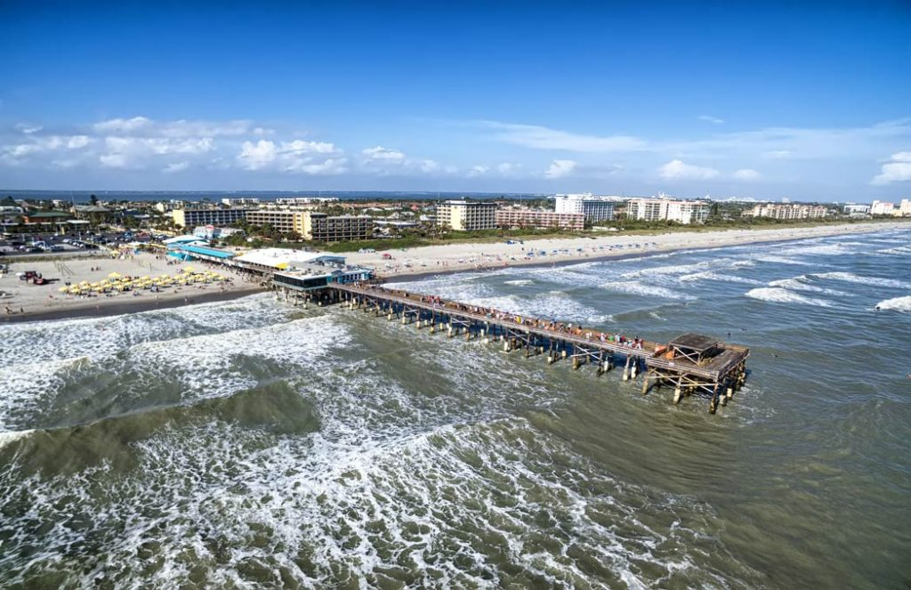 A fishing pier located in Cape Canaveral stretching out into the inshore waters of the Atlantic