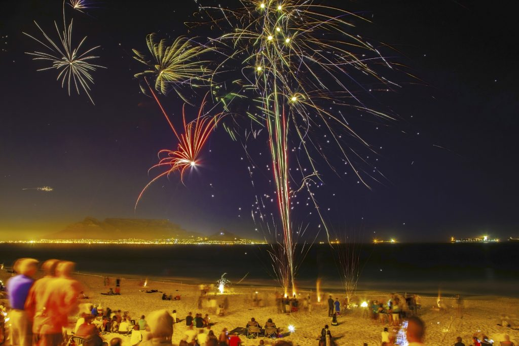 New Year's Eve fireworks on a beach in Cape Town