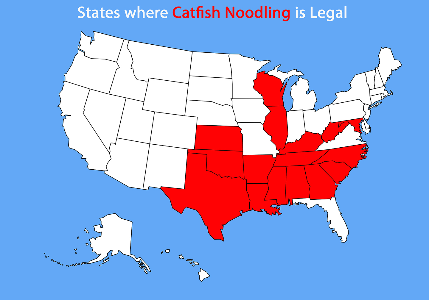 A map of where Catfish noodling is legal in the US.