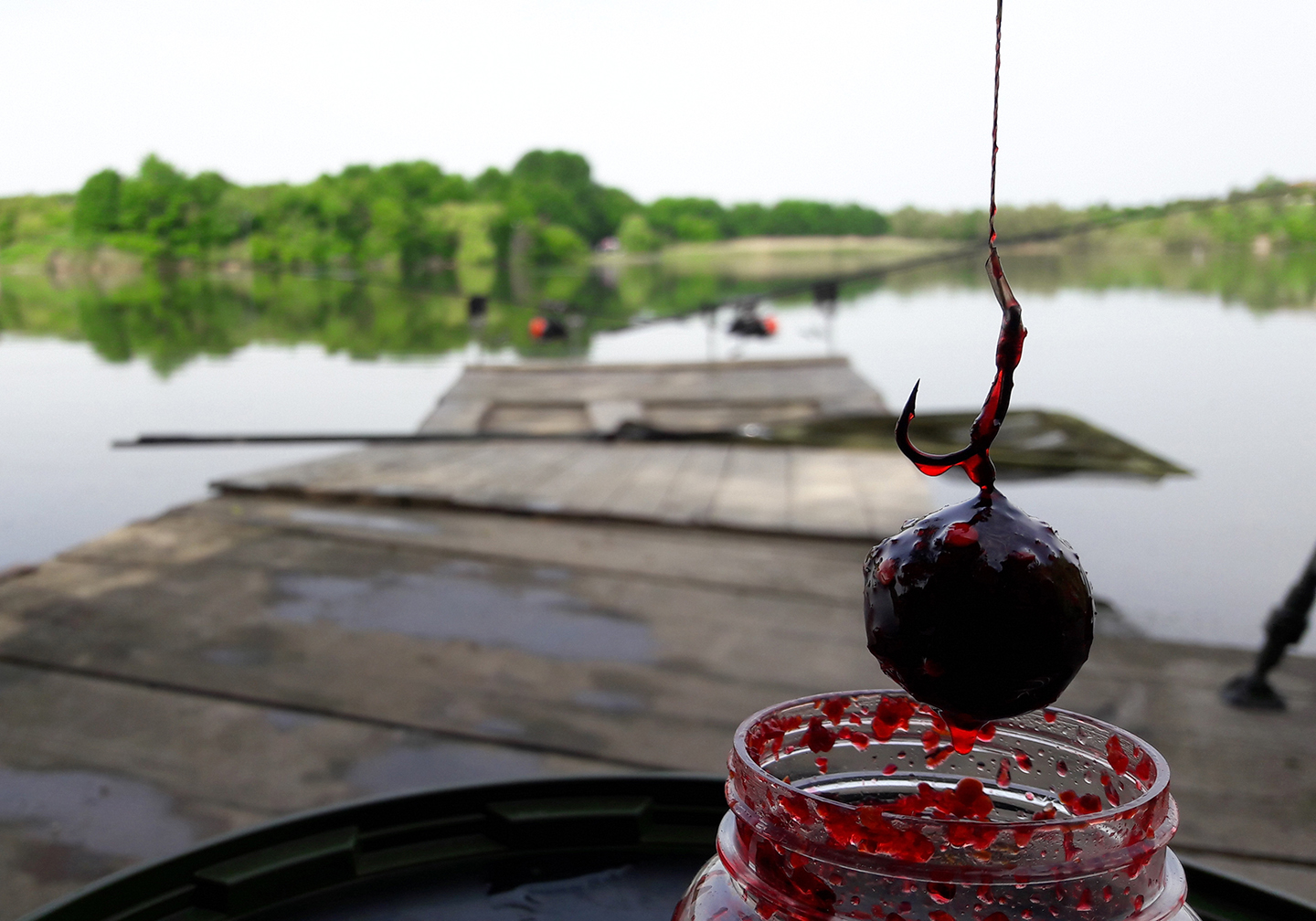 A fishing hook and a bait ball covered in dip bait with a lake in the distance