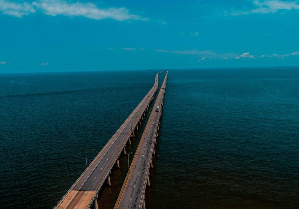 An aerial view of Chesapeake Bay Bridge