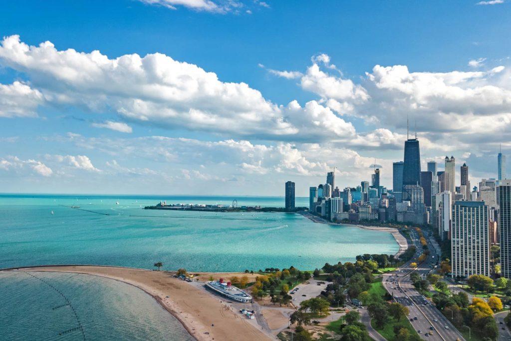 A view of Chicago's Lake Michigan shoreline