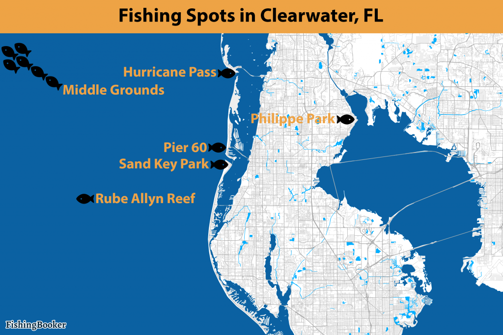 A Clearwater fishing map with information on good fishing spots in Clearwater, FL