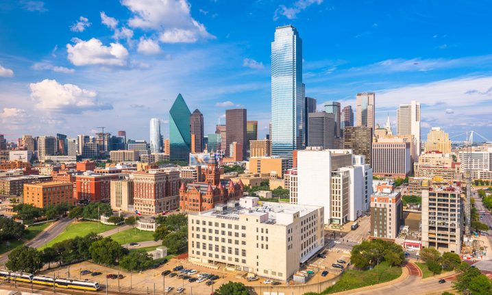 Downtown Dallas cityscape with skyscrapers and large buildings