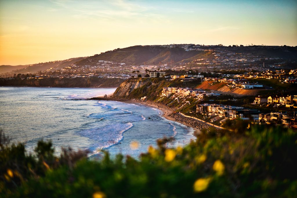A view across the bay of Dana Point, one of the best summer fishing destinations in the US, at sunset