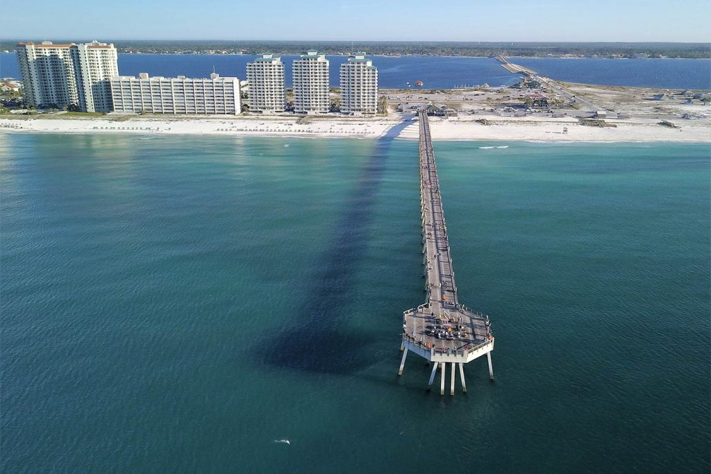 An aerial view of Destin fishing pier