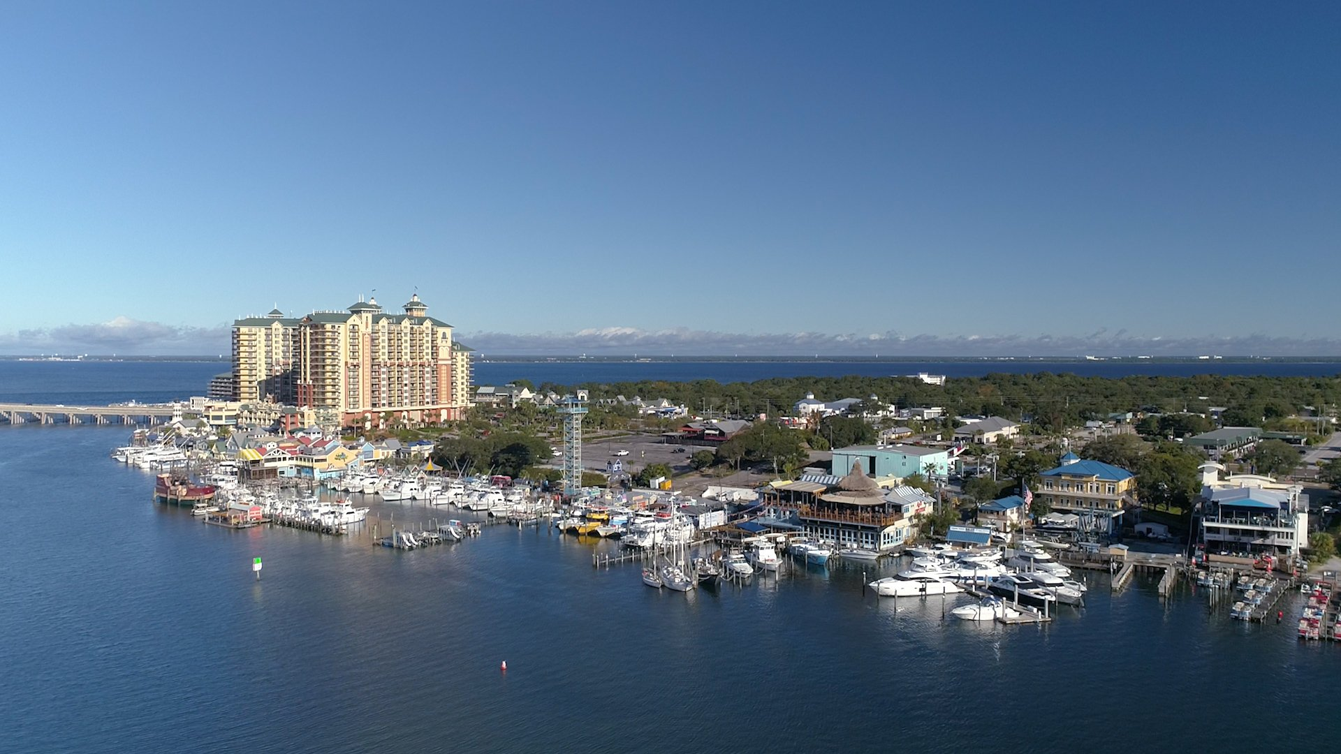 An Aerial view of Destin harbor, one of the best fishing spots in Florida