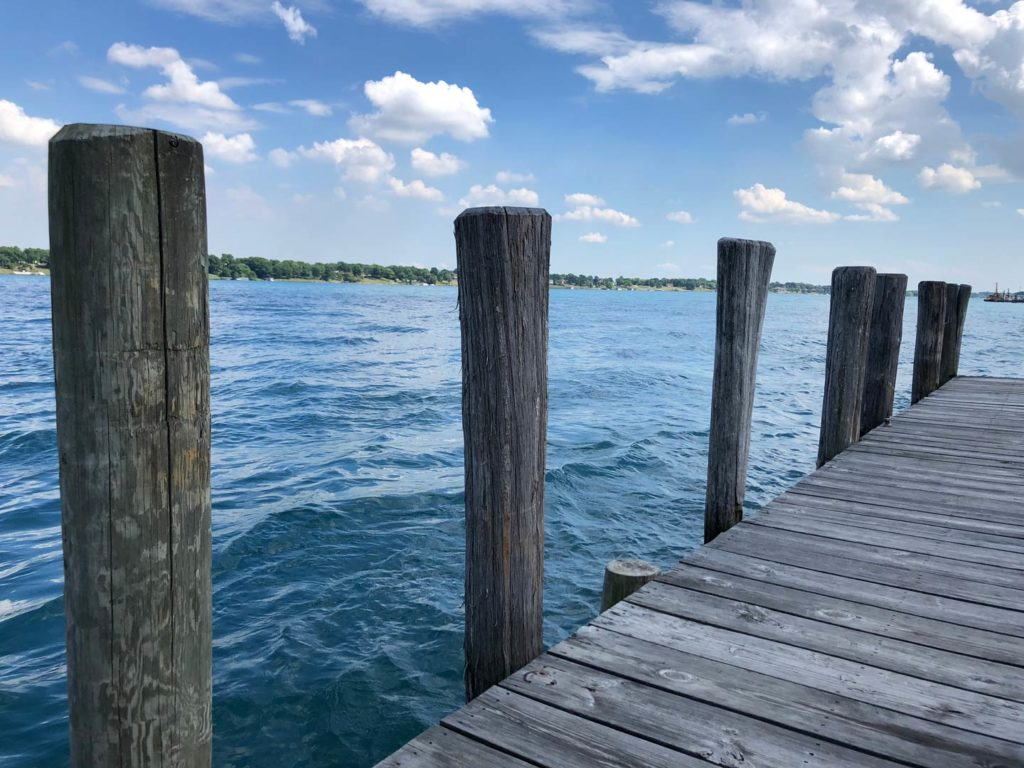 A boat dock on Lake St Clair