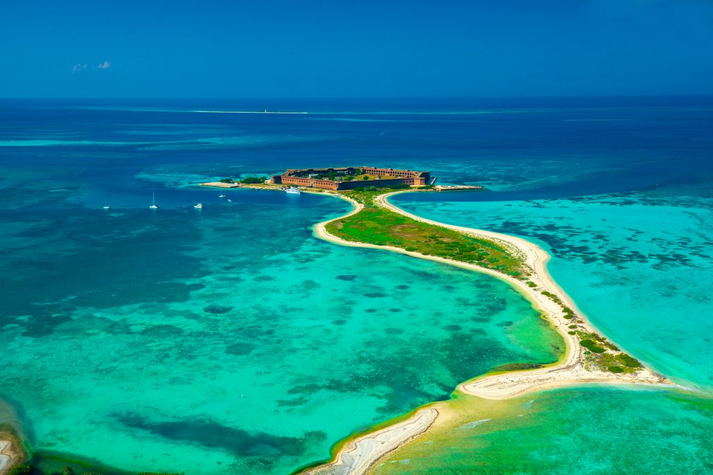 An aerial view of Dry Tortugas State Park in the Florida Keys