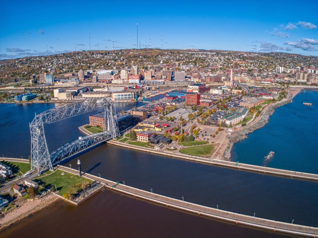 An aerial view of the popular Canal Park Avenue in Duluth