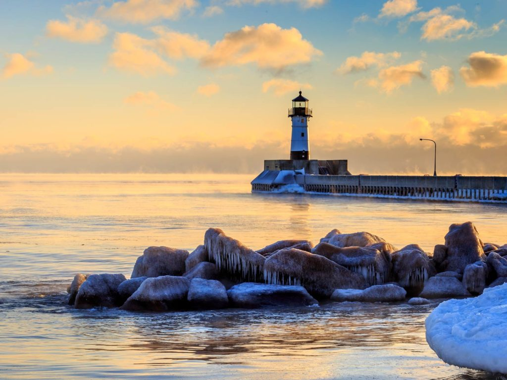 A lighthouse on the shores of Duluth