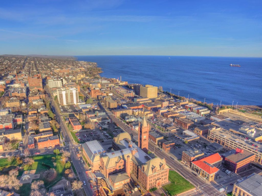 An aerial view of Duluth, Minnesota