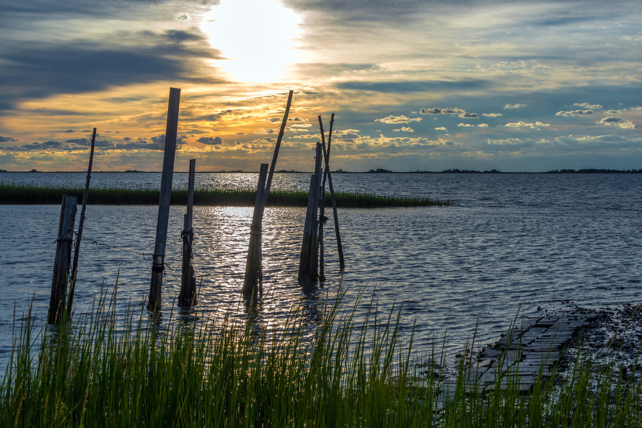 A view on the Chesapeake Bay from one of the Virginia's top fishing spots, the Eastern Shore