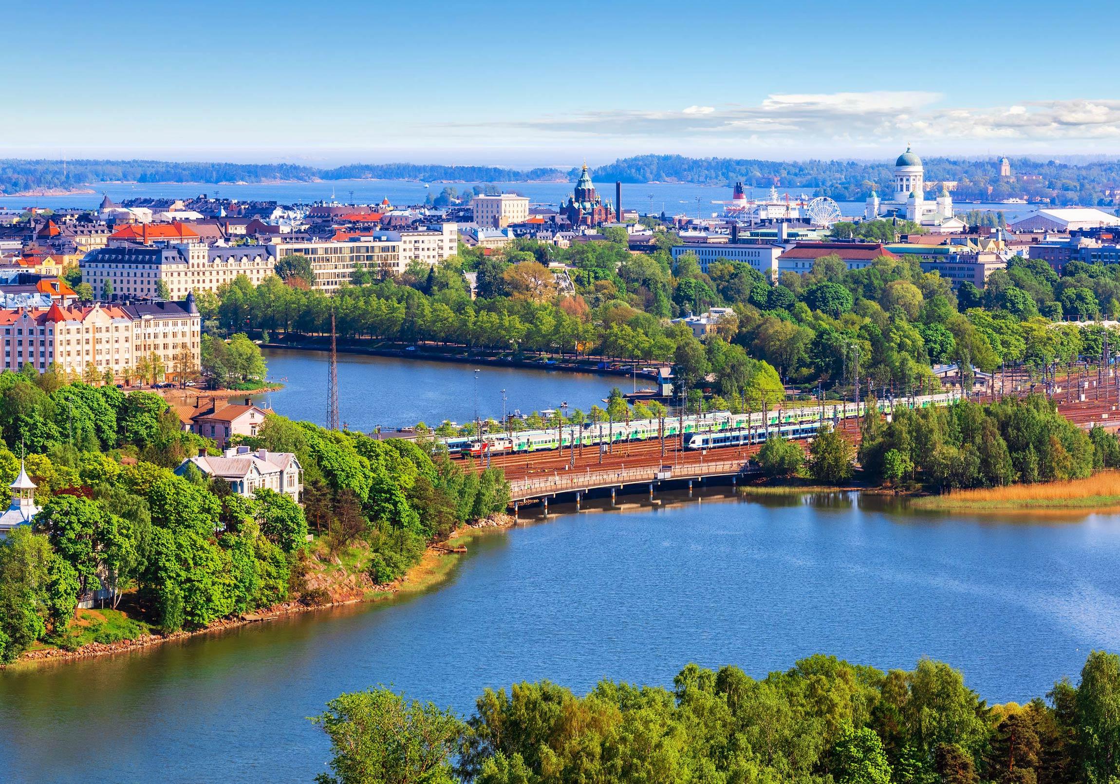 An aerial view of broader Helsinki metropolitan area