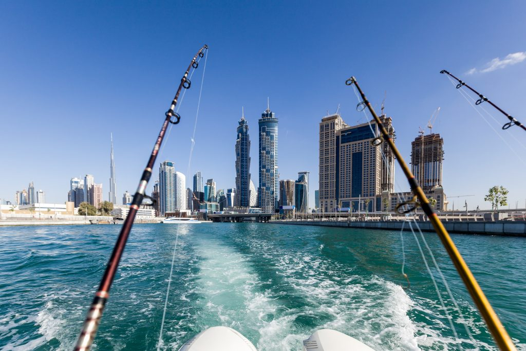 a view at the Dubai skyline from a moving fishing boat