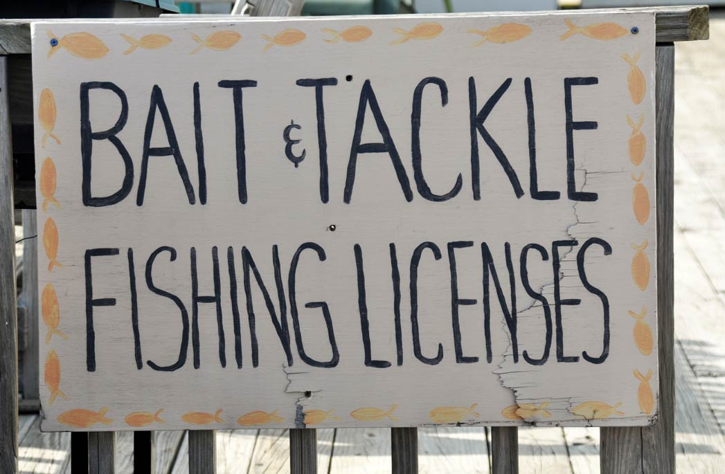 A sign advertising a bait shop selling bait, tackle, and fishing licenses. This is one of the most common places to buy a NY fishing license