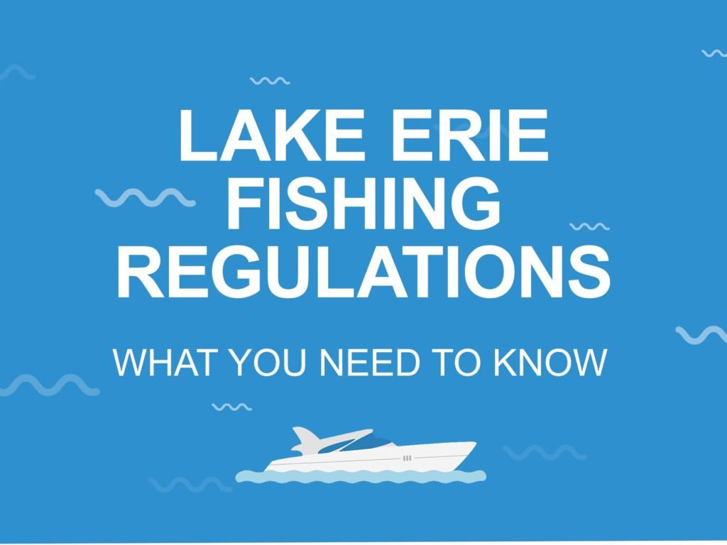 A blue coloured picture that says Lake Erie Fishing Regulations