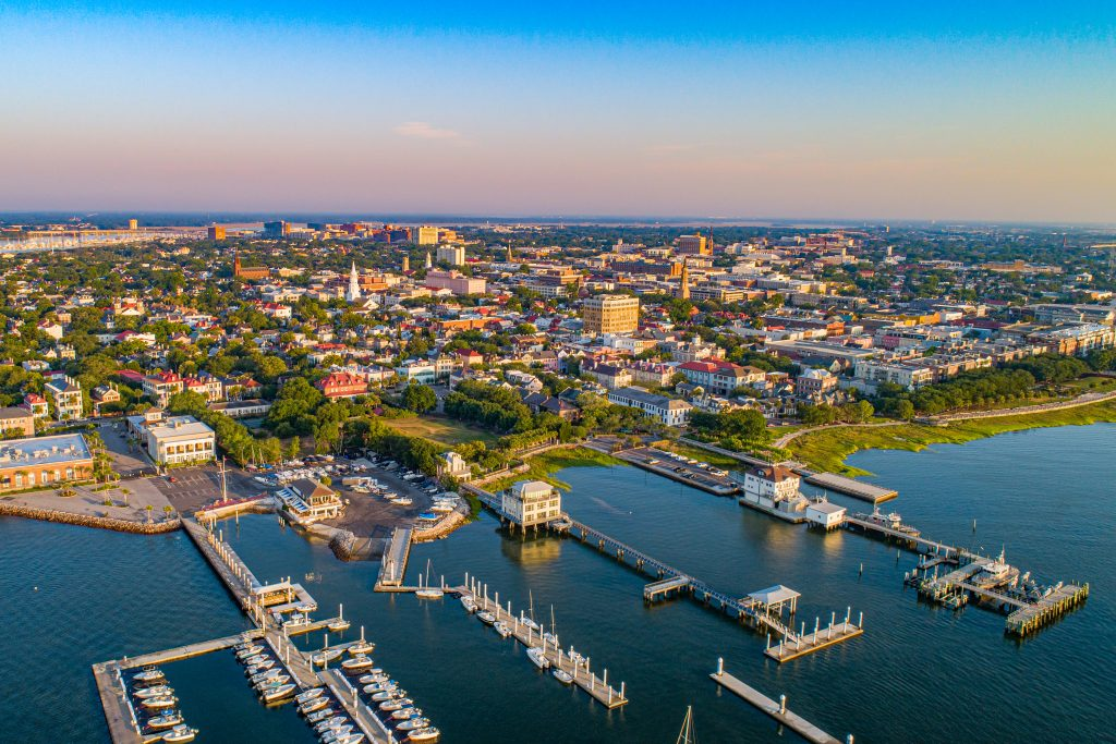 An aerial view of Charleston, SC