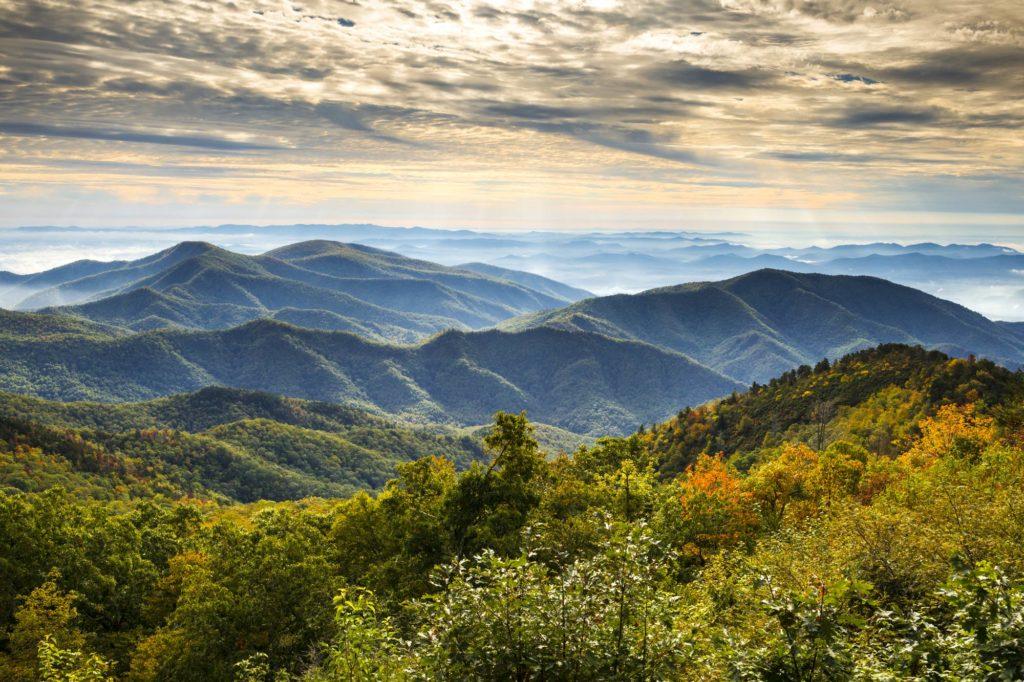 An aerial view of the Blue Ridge, North Carolina