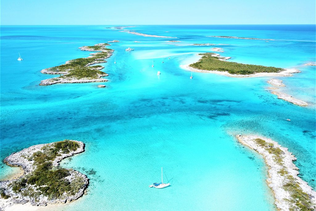 An aerial view of islands in the Bahamas