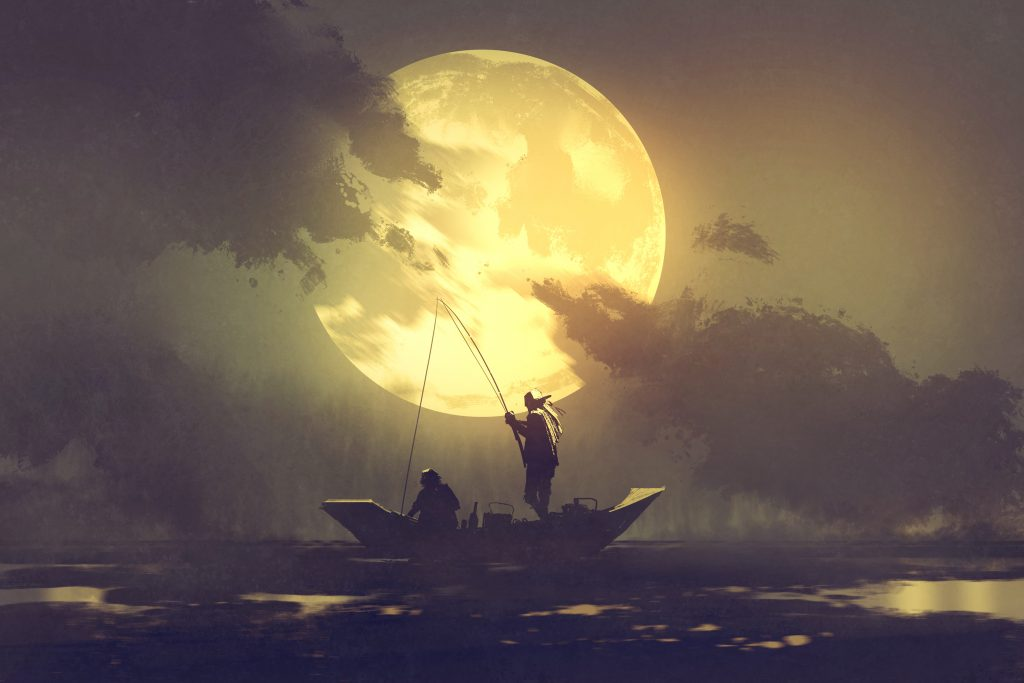 An illustration of a fisherman on a small boat under a large full moon