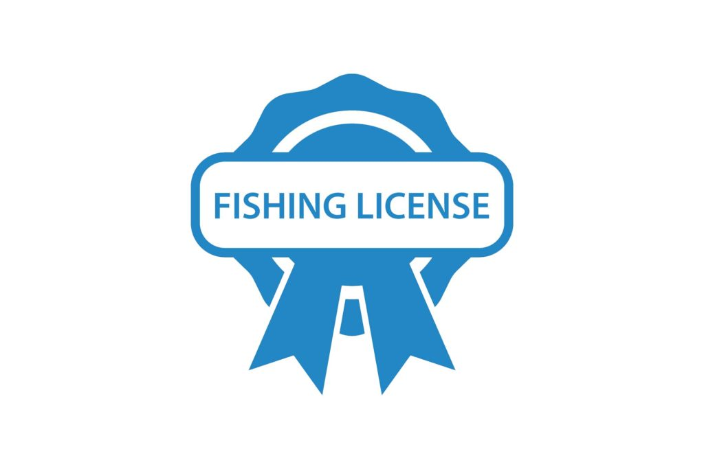 "A blue badge that has ""fishing license"" written on it"