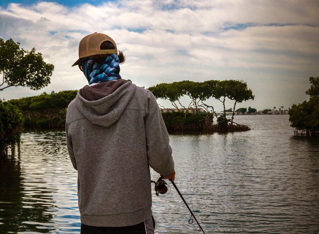 A solo angler fishing the flats of Tampa, Florida