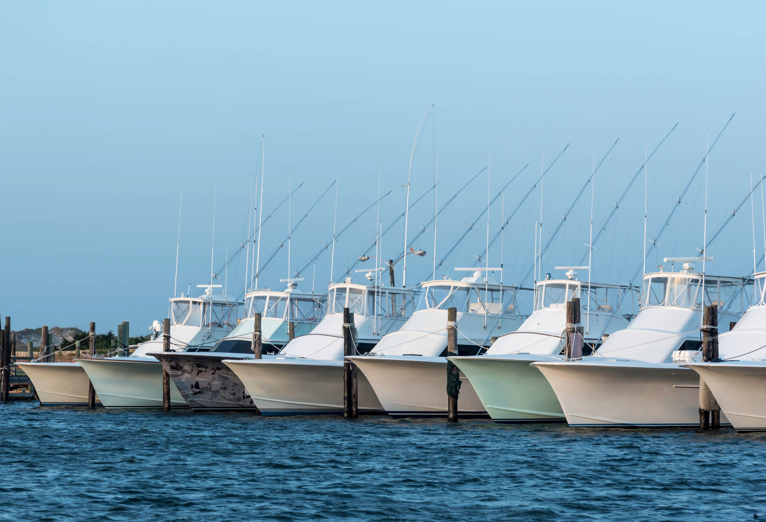 Fishing boats lined in a marine, ready for a fishing tournament