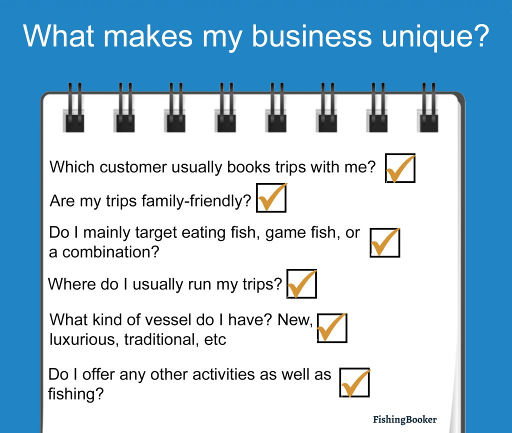An infographic displaying questions for brand building, such as who normally fishes with me? where do I normally fish? what species do I normally target?