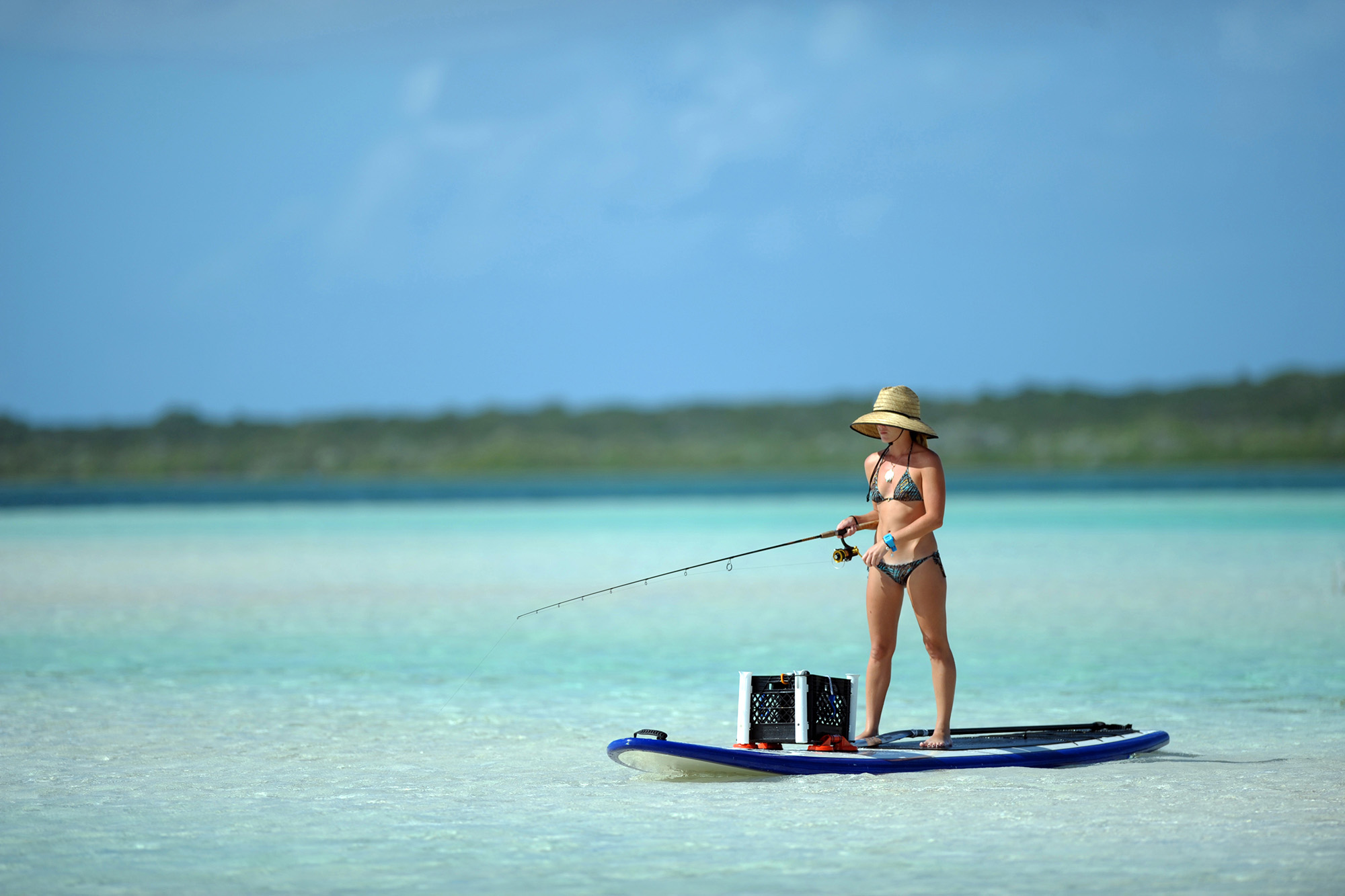 A woman fishing on a standup paddleboard in shallow tropical water