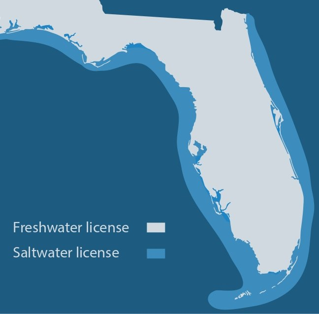 a map showing where anglers need a freshwater vs. a saltwater fishing license in Florida
