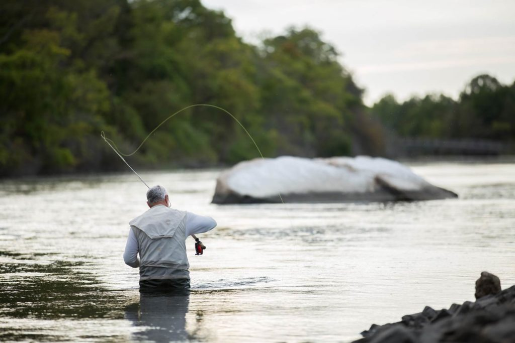An older male angler casting a fly fishing rod while wading in the river.