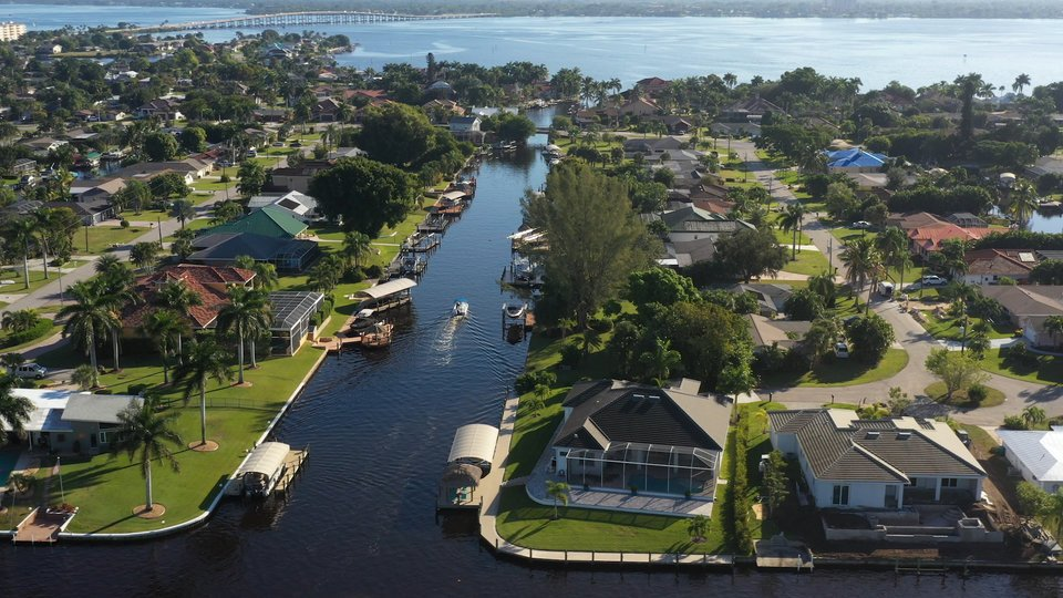 An aerial view of the water canals in Fort Myers, one of Florida's top fishing spots