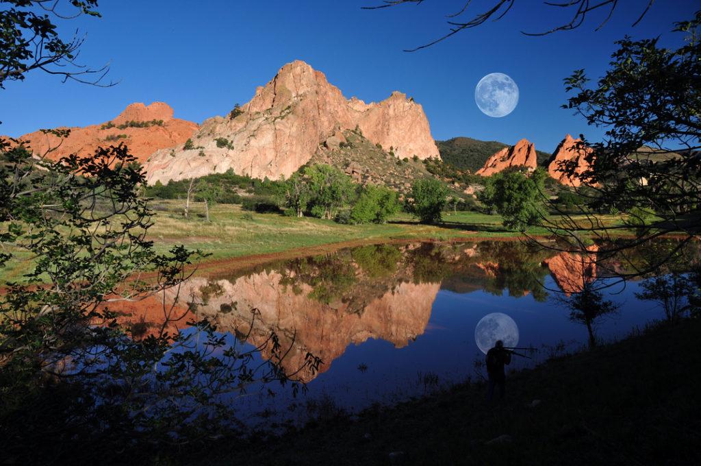 A small pond with a rocky mountain in Garden of the Gods in Colorado Springs, Colorado