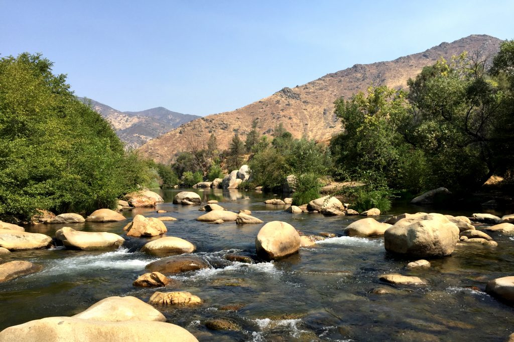 A rocky stretch of the Kern River in the Sierra Nevada Mountains, California.