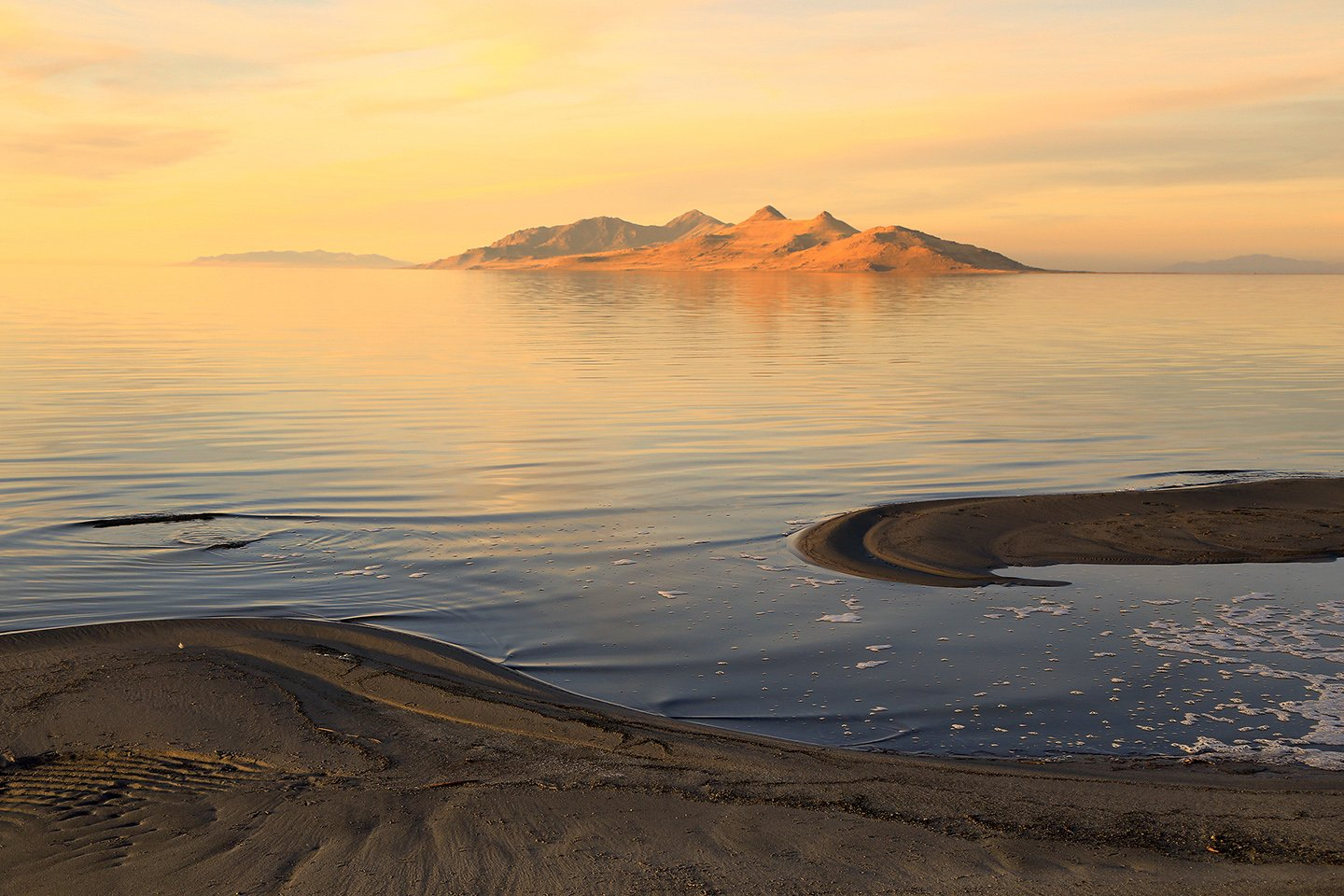 Great Salt Lake at sunset, with Antelope Island visible in the distance